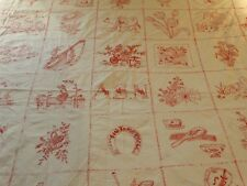 """Antique Turkey Red Embroidery Whimsical Coverlet Bedspread Quilt 71"""" X 80"""""""