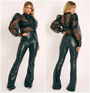 Womens Ladies Black Faux Leather High Waist Flared Trousers Bottom Pants UK 6-12