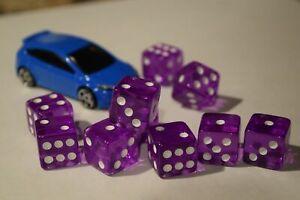 NEW 10 Transparent Purple RPG Bunco Gaming Dice Set 16mm D6 Great Quality Yahtze