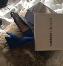 Dorothy Perkins Blue Suede Wedges 5 38 Heels Shoes