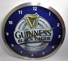 """Guinness Black Lager Clock Beer Memorabilia Large 24"""" Stainless Steel Frame"""
