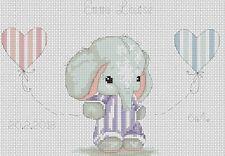 Nuevo Bebé Elefante en Lila Punto de Cruz Kit Completo #5-133