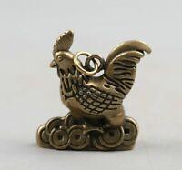 Chinesische Fengshui Bronze 12 Sternzeichen Tier Hahn Hahn Geld Anhänger Statue
