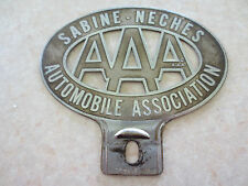 Vintage AAA Sabine Neches Texas car badge for Ford Chev Chrysler Dodge Buick