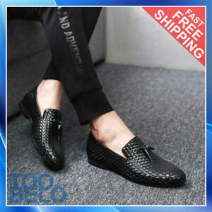 Mens Casual Leather Shoes Dress Formal Tassel Slip On Driving Loafers Lazy Shoes