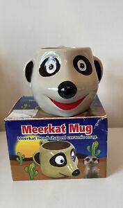 Meerkat Head Face 3D Shaped Novelty Ceramic Tea Coffee Cup Mug Boxed