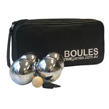 Set of 8 Alloy Chrome Plated Boules Petanque in Black Bag