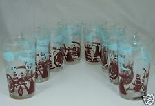 VINTAGE WATER/ JUICE GLASS SET 8,HORSE,GUN,LAMP,CANON,SHIP TURQUOISE/BROWN