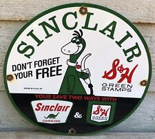 VINTAGE 1967 SINCLAIR DON'T FORGET S&H GREEN STAMPS GAS OIL DINOPORCELAINSIGN