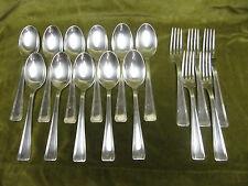 5 fourchettes 11 cuillèrès métal argenté art deco Ercuis (dinner forks & spoons)