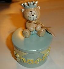 Regency Baby Days Teddy Bear Prince Blue Trinket Gift Pot 11 cm FreePost UK