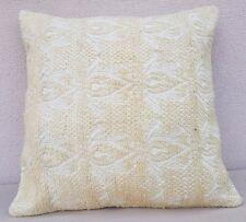 24x24'' Vintage Turkish Handwoven White Color Kilim Throw Pillow Cover 60x60 cm