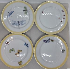 "William Sonoma Summer Studio Bugs & Butterflies 6.5"" desert Plate set of 4"