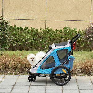PawHut 2 IN 1 Dog Bicycle Trailer Pet Carrier Stroller Rotatable Wheel Blue