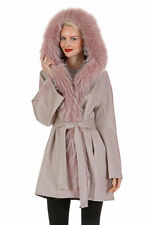Guy Laroche Womens Real Raccoon Fur Trim Cashmere Coat Jacket Hooded -Reversible
