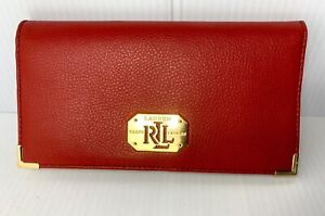 Lauren Ralph Lauren Red And Gold Leather Wallet Women's NWOT