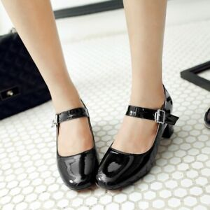Retro Womens Mid Block Heels Patent Leather Mary Jane Ankle Strap Pump Lady Shoe