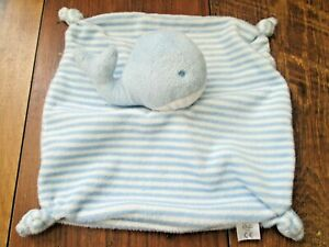BOOTS MINI CLUB BABY BLUE & WHITE STRIPED WHALE SOFT TOY COMFORTER BLANKIE