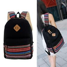 Women Girls Canvas Backpack Ethnic School Shoulder Bag Handbag Bookbag Black #O