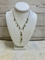 """Vintage Monet Necklace Silver Tone and Mother of Pearl Y Style Link Chain 16-18"""""""