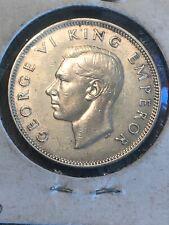 New Zealand 1942 Florin, Km-10.1, Unc/Au 150,000 Mintage Low