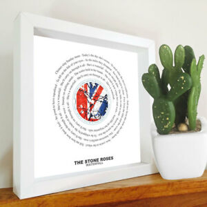 The Stone Roses - Waterfall - Framed Lyrics Manchester Bands - Ian Brown - Mani