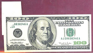 1996 $100 FRN Printing GEM fold ERROR-FR#2175J-RARE