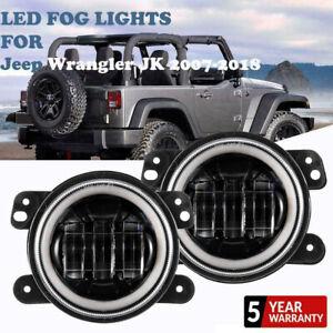 PAIR 60W  LED Fog Light DRL  Ring 6000K For 2007-2018 Jeep Wrangler JK