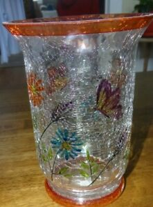 YANKEE CANDLE LARGE JAR CANDLE HOLDER -- CRACKLE GLASS w/FLOWERS & BUTTERFLIES