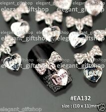 #EA132 10pcs  Alloy Gem Nail Art Decoration Glitter White Bow Tie Dangling Heart