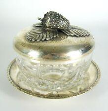 Glas Geleedose / Marmeladendose mit Deckel und Untersetzer aus 900er Silber 152g