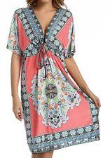 Plus Womens Floral Print Dress Kimono Short Sleeve Tunic Kaftan Beach Sun Dress
