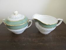 Royal Worcester Regency England Porcelain Creamer And Sugar Bowl Green