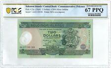 Solomon Islands 2$ P23a 2001 PCGS 67 PPQ 1st pfx s/n AA0115019 Comm. Polymer