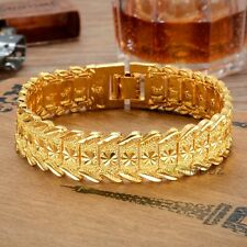 15mm Wide Heavy 24K Yellow Gold Plated Men's Gorgeous Jewelry Bangle Bracelet