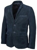 Mens Casual Biker Navy Blue 2 Button Blazer Real Leather Cafe Racer Suede Jacket
