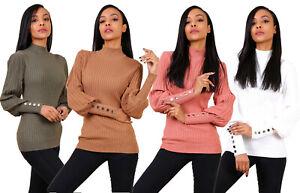 Maglione donna maniche lunghe a sbuffo misto lana aderente collo alto lupetto #