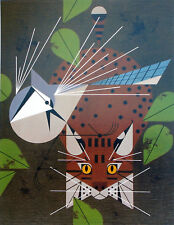 Charles/Charley Harper - BLUE JAY PATROL - Cert of Auth - fun cat & bird art