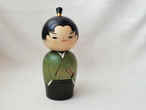 """Japanese 5.5"""" Creative KOKESHI Wooden Doll Green WAKA SAMURAI"""