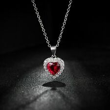 Sevil 18K White Gold Plated Created Red Ruby Heart Necklace W Swarovski Elements