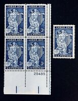 US Stamps, Scott #1082 Labor Day 1956 3c Plate Block & single VF/XF M/NH