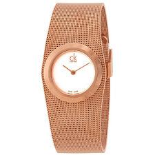 Calvin Klein White Dial Rose Gold-tone Mesh Ladies Watch K3T23626