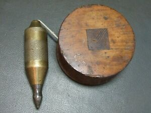 Vintage large brass & steel plumb bob & reel old tool
