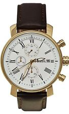 NEW FOSSIL GOLD TONE,BROWN LEATHER BAND,ROMAN #S,CHRONOGRAPH WATCH-BQ1009