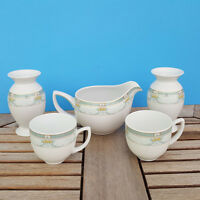 Kaiser Porcelain 5 pc MIGNON Green Band Floral Scroll Cups Candle Creamer German