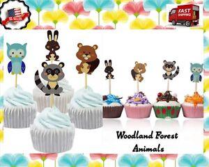 Woodland Forest Animals birthday themed Assorted Cupcake Picks 24pc  😍🎂