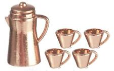 Dolls House Copper Coffee Pot & Mugs Set Miniature Kitchen Cafe Dining Accessory