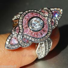 NO.647 Pink Sapphire Birthstone 925 Silver Filled Bridal Wedding Ring Size 6