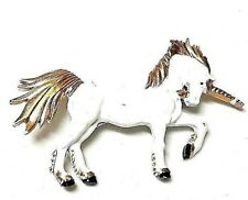 Enamel JJ Jonette Unicorn White and Gold Pin Vintage Jewelry