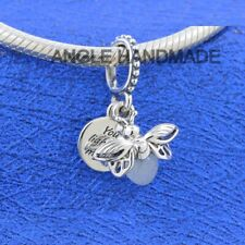 Original 100% S925 Sterling Silver Bee, Glow in the dark Firefly Dangle Charm